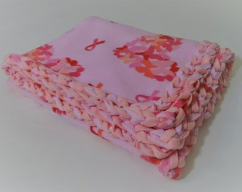 Hearts of Pink Butterflies Braided Fleece Blanket