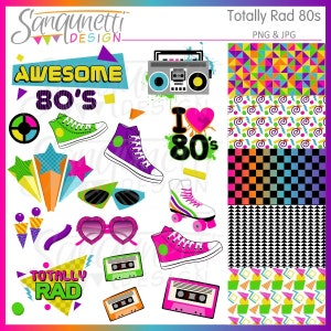80s Clipart, awesome 80s clipart, eighties clipart, 80s Party Theme, 80s digital paper, 80s scrapbooking, 80's clip art, 80s music clipart