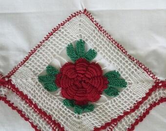 Vintage pillowcase,  red flower crochet trim , mid century,  hand made, estate find, Red and White Trim, Handmade Vintage