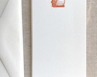 Flat Card Set with Letterpress Pumpkin (vertical)