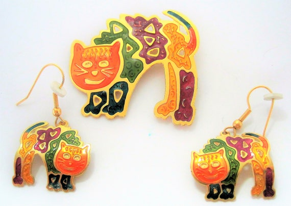 Cat Brooch Earrings -  Kitty Orange Enamel -  Pierced Dangle