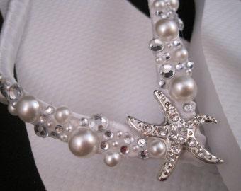 Shoshanna Starfish Bridal Flip Flops, Custom Flip Flops, Dancing Shoes, Starfish Bridal Sandals, Aqua Wedding Flip Flops Beach Wedding Shoes