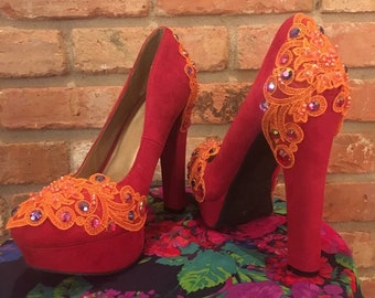Upcycled red platform shoes. Size 8.5,lace appliques,vintage inspired,rhinestones,orange appliques,butlesque,pin up