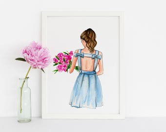 The Blue Dress (Fashion Illustration Print) (Fashion Illustration Art - Fashion Sketch prints - Home Decor - Wall Decor )
