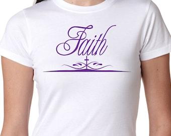 Faith Tee, Faith T-Shirt, Faith Inspirational Tee, Christian T-Shirt, Ladies 100% Cotton Gift T-Shirt
