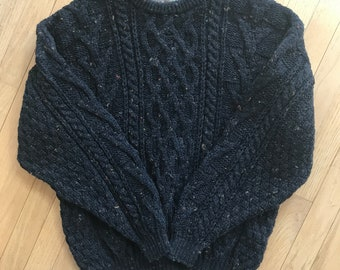 Craft & Woolens black fishermans / cable sweater, made in Great Britian, L