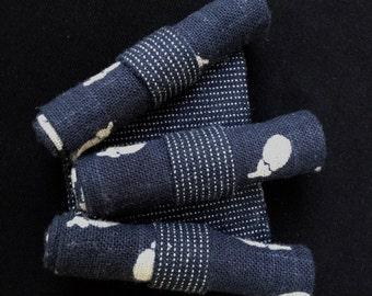 Indigo Brooch In Japanese Textile-SALE