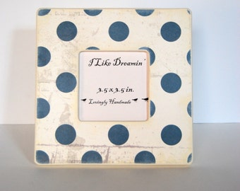 Navy Blue polka Dots Picture Frame
