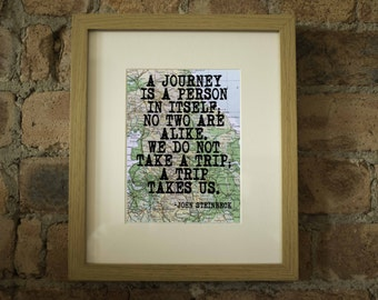 John Steinbeck Inspirational Travel Quote Print - Hand-Pulled Screenprint.