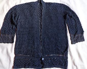 1920's Cardigan sweater black grey trim