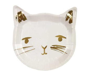 Cat Plates (8), Meri Meri Cat Party Plate, White and Gold, Kitten Paper Plates, Cat Lover, Toddler Birthday, Girl, Baby Shower, Small Plate