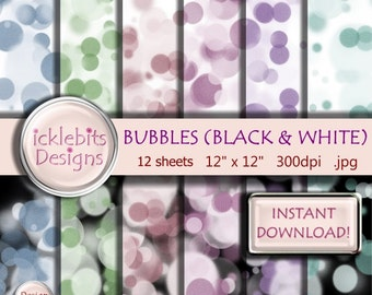 "Bubbles (Bokeh) Pattern (Black and White Backgrounds) Digital Scrapbook TEXTURED Paper Pack 12x12"",  12 sheets - INSTANT DOWNLOAD #Design1"
