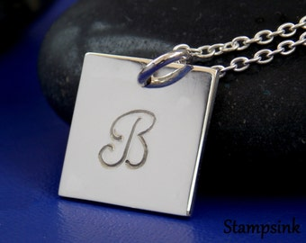 Silver Initial Necklace, Sterling Silver Chain, Best Friend Gift,  Initial Charm, Long Silver Chain, Personalize Woman, Stampsink