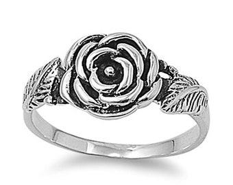 Women Sterling Silver Rose Flower ring 10mm / Free Gift Box(SNRP141480)