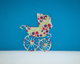 Cutout paper napkin collage stroller small flowers