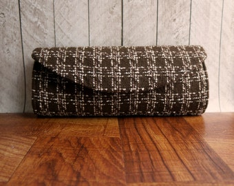 Chocolate Brown clutch, tweed clutch bag, clutch purse, fall fashion