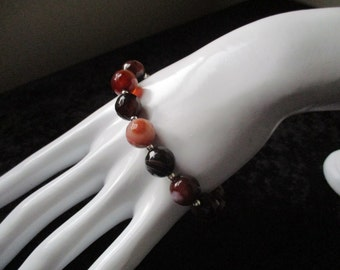 Banded Agate and Sterling Silver Bracelet