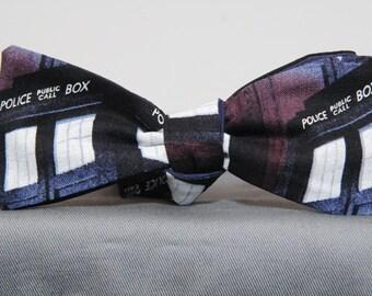 Dark Tardis Police Box Bow Tie