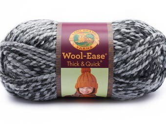 Licorice Grey DeStash Yarn - Lion Brand Wool Ease Thick & Quick, Super Bulky Wool Blend Yarn, LICORICE Grey