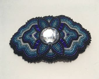 Black and Teal Beaded Barrette