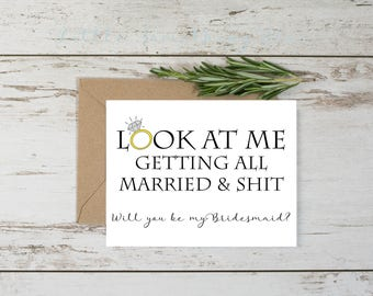 Funny Bridesmaid Proposal Card Template // Adult Humor // Ring // Digital Template // Printable