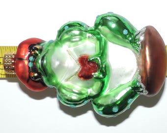 "Vintage EstateBlown Glass Frog PrinceChristmas Ornament 4.5"" x 2.5"""
