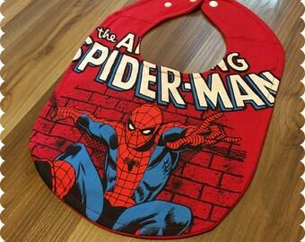 The Amazing Spiderman Baby Bib, Recycled T-Shirt Baby Bib, Baby Shower Baby Boy Gift, Superhero Baby