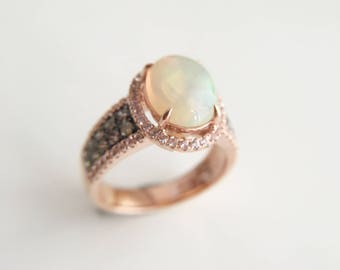 3 Carat Opal Engagement Ring Rose Gold Ring Smoky Quartz Ring Oval Opal Ring White Sapphire Ring