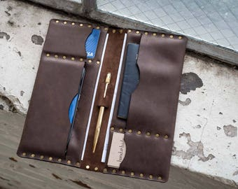 Leather Travel Folio, Travel Wallet, travel organizer, ticket wallet, leather travel case, passport wallet, passport holder, personalized