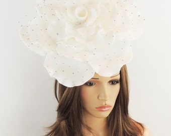 Stunning White Parisa Large Rose Fascinator Hatinator Hat for Kentucky Derby & Ascot, Special Events With Headband