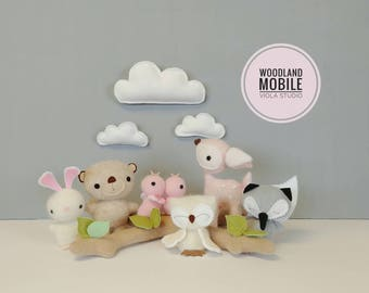 Woodland Baby Mobile - Nursery, Unisex, Neutral, Decor, Mobile, Clouds, Animals, Forest, Baby MADE TO ORDER