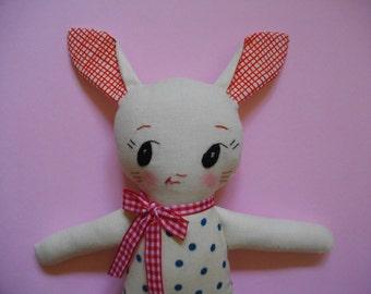 Bunny Plushie - Handmade ragdoll Bunny plush toy softie baby toy - made to order