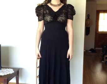 Late 1930s black rayon + lace maxi dress with pouf sleeves // small