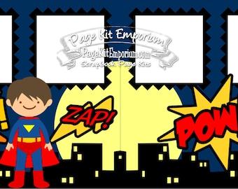 Scrapbook Page Kit Super Hero Comic Superman 2 page Scrapbook Layout Kit 036