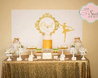GLITTERY GOLD BALLERINA Printable Party Backdrop - you print