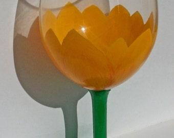 Yellow Tulip Wine Glass