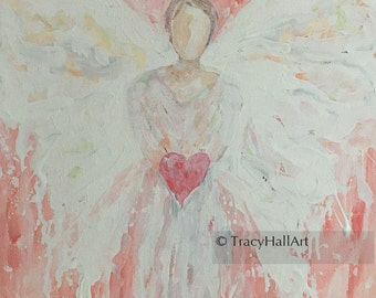 Angel of Hope Peace Love Support Guardian Angel Painting Thank You Gift Art Canvas 11 x 14