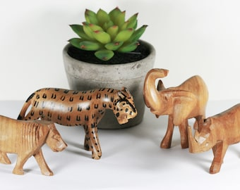 Wood Animal Collection - Vintage Carved African Animals