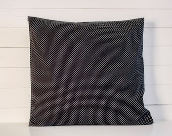 Cotton  Pillow cover, Black White Cotton Pillow Cover, Handmade Cushion, Throw Pillow, 16 x 16 Inch, Dotted Sham
