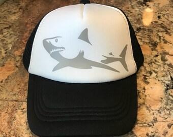 BABY sized SHARK vinyl trucker hat