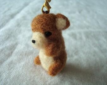 Upcycled – Needle felted miniature caramel teddy bear plush keychain