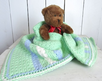 Baby Blanket Handmade Crochet Blanket Mint Green Blue White Stripe Shell Stitch Knit Stroller Blanket for Baby Boys 30 x 30 Inches