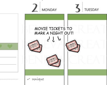 Movie Tickets - Ticket Stubs - Movie Passes - Cute Planner Stickers - (LS-026)
