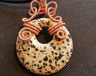 Dalmation Jasper donut pendant wire wrapped