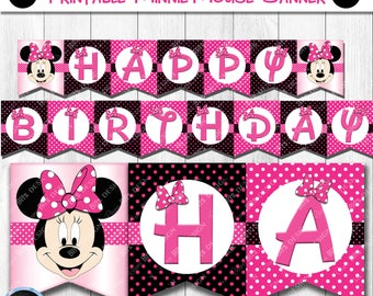 Minnie Mouse Banner Printable, Minnie Mouse Birthday Banner, Minnie Mouse Party, Pink Minnie Mouse Party Decorations, Minnie Mouse Printable
