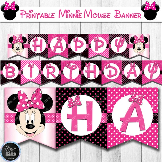 Minnie Mouse Banner Printable Minnie Mouse Birthday Banner