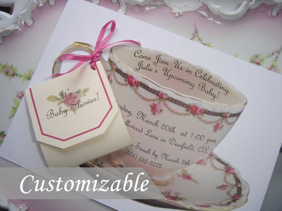 Items similar to 12 Cut Out Pink Teacup Invitation on Etsy