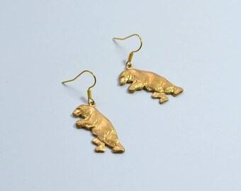 Brass polar bear earrings