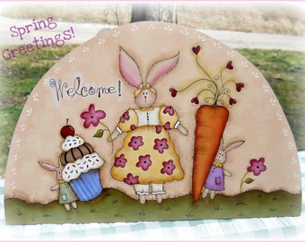 E PATTERN - Spring Greetings - Bunnies & Treats - New design from Terrye French, Painted By Me - FAAP