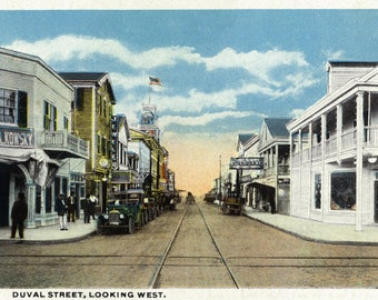 Key West, Florida - Duval Street West Scene - Vintage Halftone (Art Print - Multiple Sizes Available)